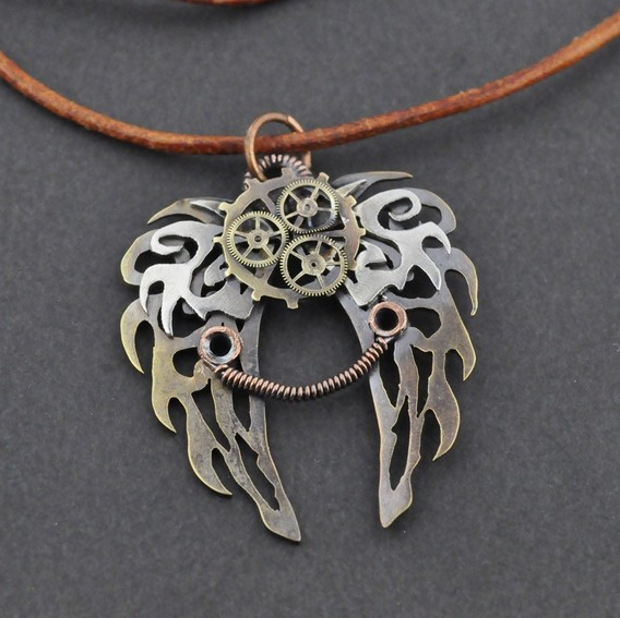jewellery in wings bronze necklace pendant design clockwork steampunk muse